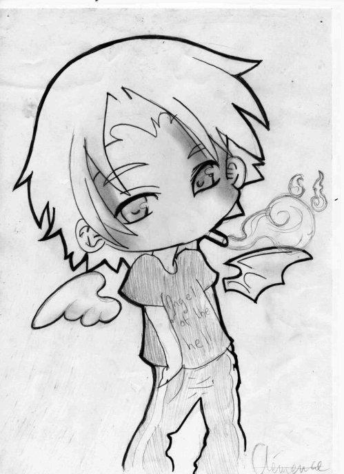 Ange ou demon dessin de tuhua - Dessin ange demon ...